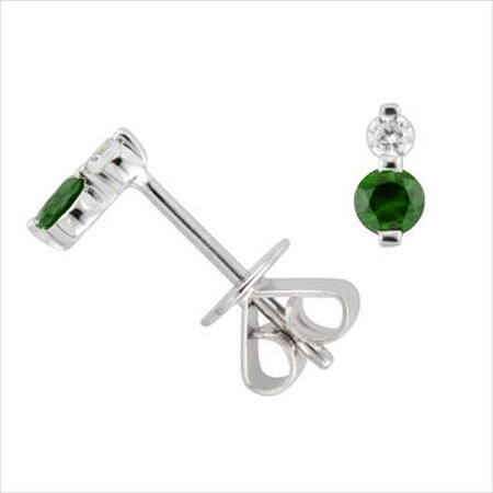 Stud Earrings with Diamond & Natural Emerald in 10kt White Gold