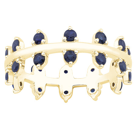 Zipper Ring with Blue Sapphire in 10kt Yellow Gold