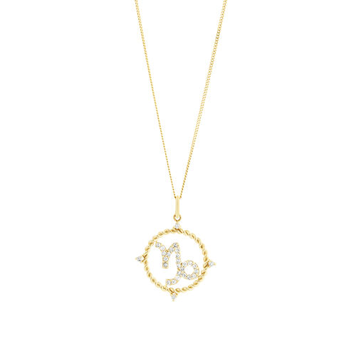 Capricorn Zodiac Pendant with 0.20 Carat TW of Diamonds in 10kt Yellow Gold