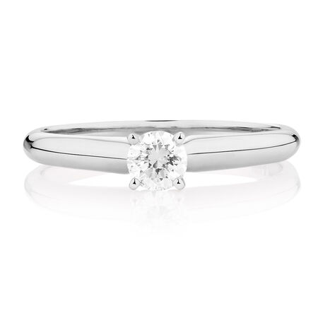 Evermore Solitaire Engagement Ring with1/3 Carat TWDiamond in 14kt White Gold