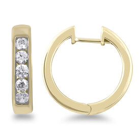 Channel Set Hoop Earrings with 0.80 Carat TW of Diamonds in 10kt Yellow Gold