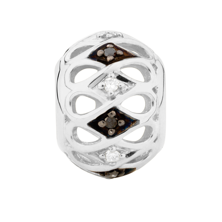 White & Enhanced Black Diamond Set Marrakesh Charm