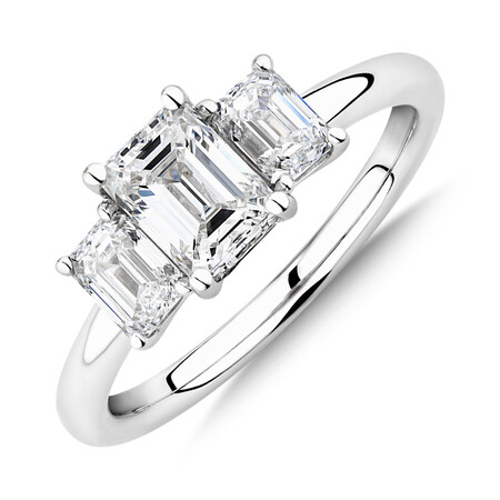 Sir Michael Hill Designer Three Stone Emerald Cut Engagement Ring with 1.42 Carat TW of Diamonds in 18kt White Gold