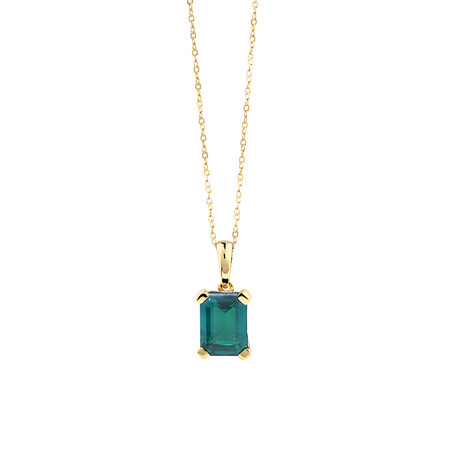 Pendant With Created Emerald In 10kt Yellow Gold