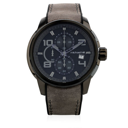 Men's Chronograph Watch in Grey Tone Stainless Steel & Charcoal Leather Band