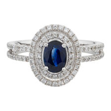 Online Exclusive - Ring with 0.57 Carat TW of Diamonds & Sapphire in 14kt White Gold