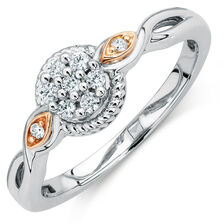 Promise Ring with Diamonds in 10kt White & Rose Gold