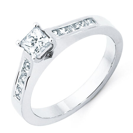 Engagement Ring with 0.7 Carat TW of Diamonds in 18kt White Gold