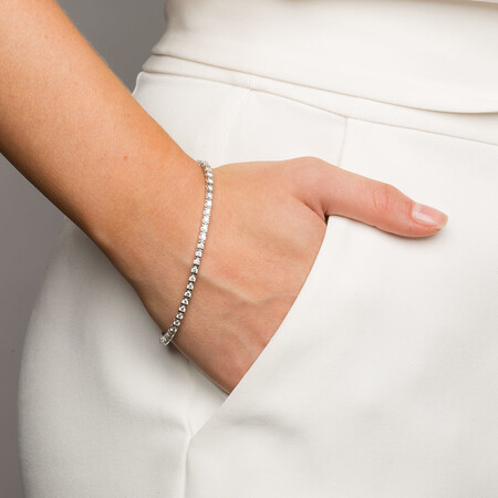 Tennis Bracelet with 3 Carat TW of Diamonds in 18kt White Gold