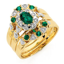 Ring with Created Emerald & Diamonds in 10kt Yellow Gold