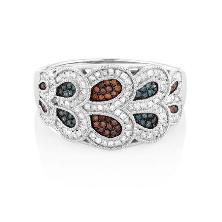 Online Exclusive - City Lights Ring with 0.40 Carat TW of Enhanced Blue & Enhanced Brown Diamonds in Sterling Silver
