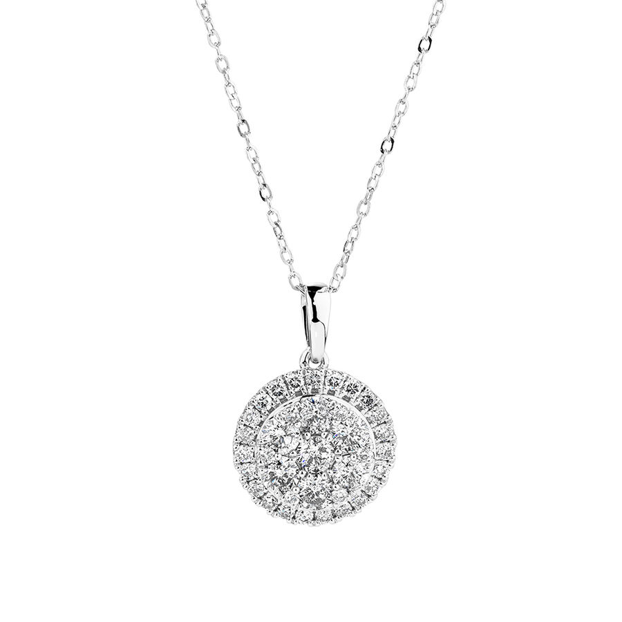 Cluster Pendant with 1.0 Carat TW of Diamonds in 10kt White Gold
