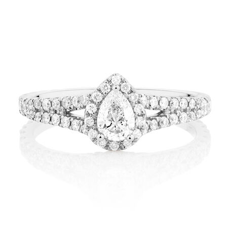 Sir Michael Hill Designer GrandAllegro Engagement Ring with 0.95 Carat TW of Diamonds in 14kt White Gold