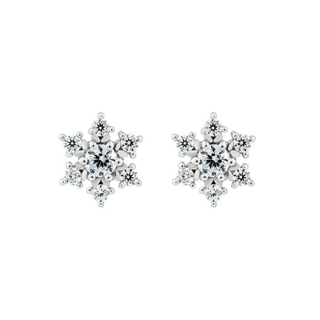 Cubic Zirconia Snowflake Studs in Sterling Silver