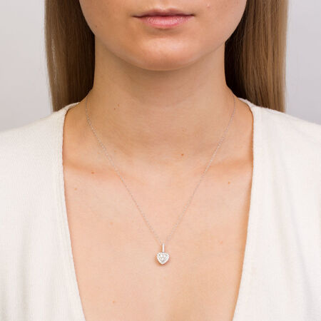 Michael Hill Designer Pendant with 0.40 Carat TW of Diamonds in 14kt White & Rose Gold