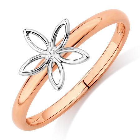 Flower Stack Ring in 10kt White & Rose Gold