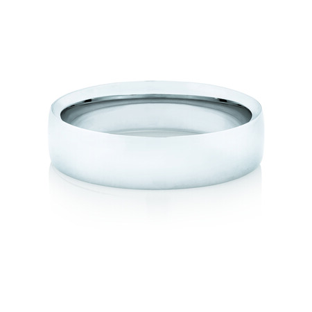 Reverse Bevelled Wedding Band in 10kt White Gold