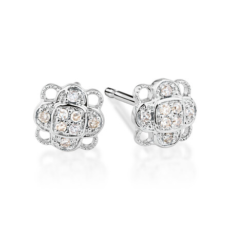 Cluster Stud Earrings with 0.10 Carat TW of Diamonds in Sterling Silver