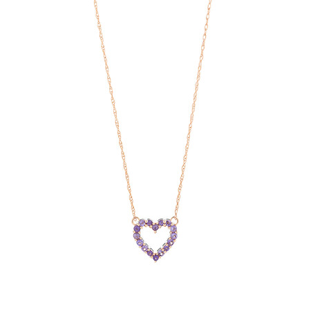 Heart Necklace with Amethyst in 10kt Rose Gold