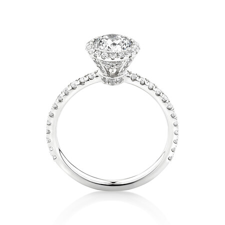 Sir Michael Hill Designer Halo Engagement Ring with 1.36 Carat TW of Diamonds in 18kt White Gold
