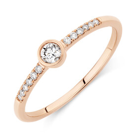 Promise Ring with 0.16 Carat TW of Diamonds in 10kt Rose Gold