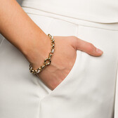 "19cm (7.5"") Rolo Bracelet with Cubic Zirconias in 10kt Yellow & White Gold"