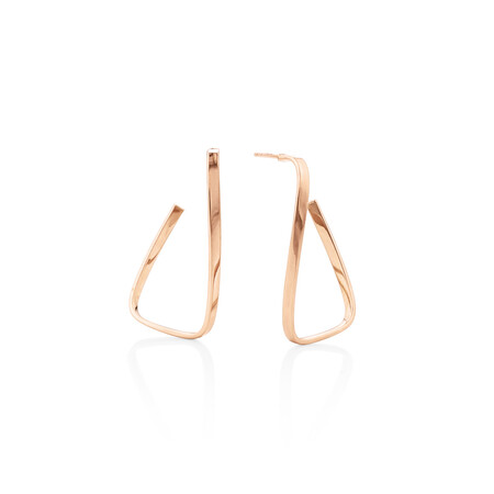 Twisted rektangle Stud Earrings in 10kt Rose Gold