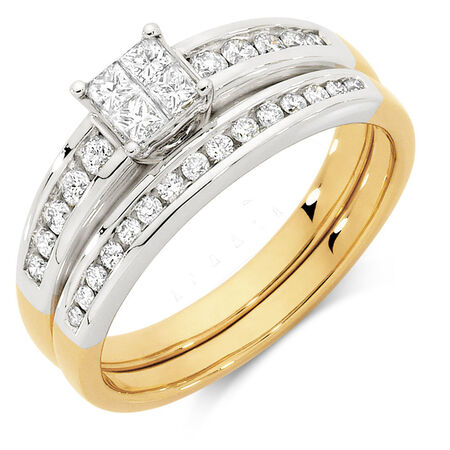 Bridal Set with 1/2 Carat TW of Diamonds in 10kt Yellow & White Gold