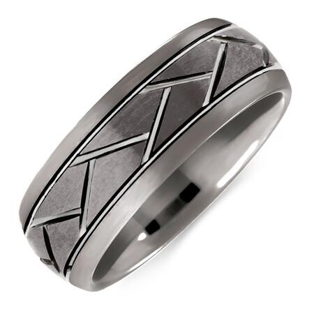 8mm Men's Ring in Grey Tungsten