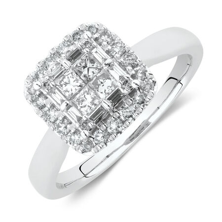 Evermore Halo Engagement Ring with 0.59 Carat TW of Diamonds in 14kt White Gold