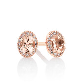 Halo Stud Earrings with Diamonds in 10kt Rose Gold