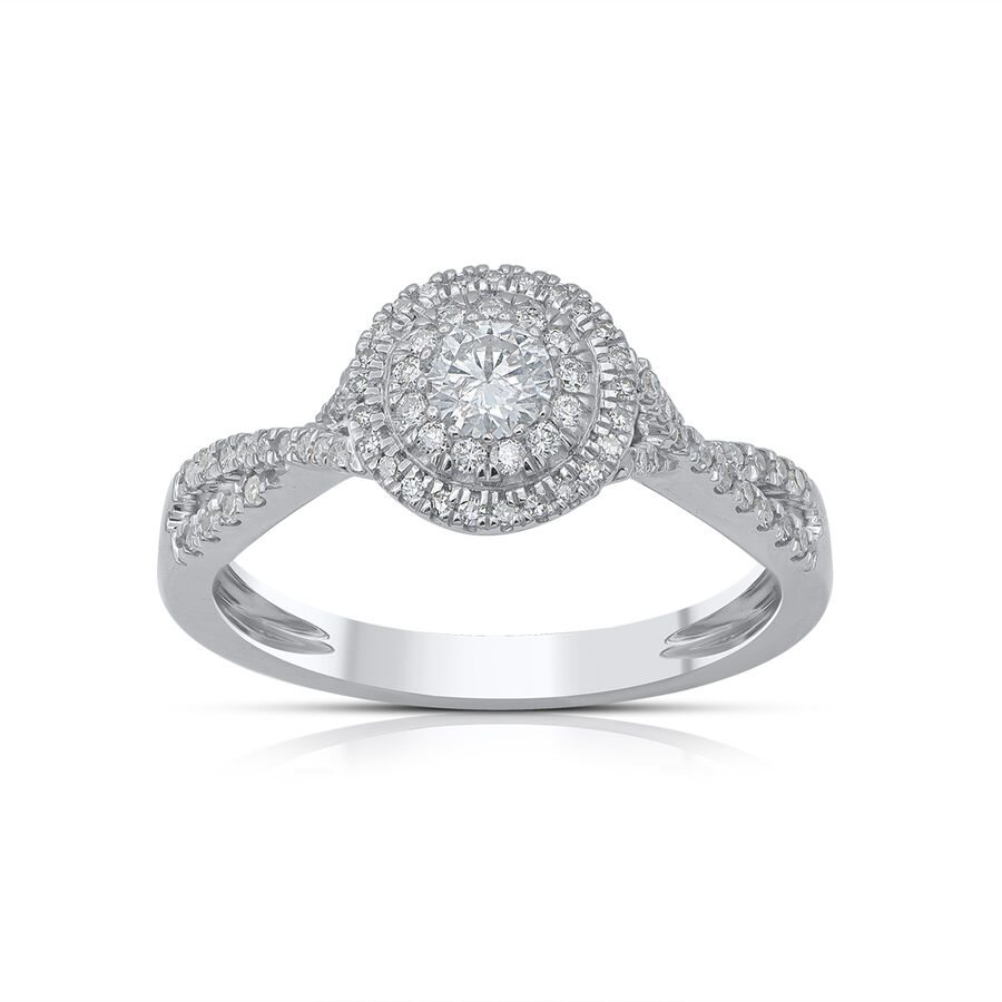 Twist Halo Ring with 1/2 Carat TW of Diamonds in 10kt White Gold