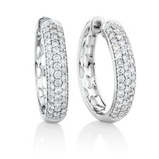 Huggie Earrings With 0.80 Carat TW Of Diamonds In 10kt White Gold