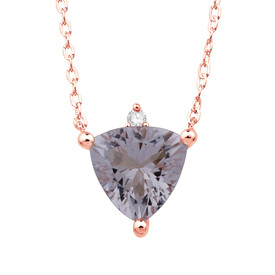 Necklace with Morganite and Diamond in 10kt Rose Gold