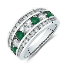 Ring with Natural Emerald & 1 Carat TW of Diamonds in 14kt White Gold