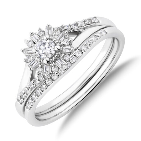 Bridal Set with 0.38 Carat TW Of Diamonds in 10kt White Gold