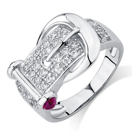Belt Ring with Ruby & Cubic Zirconia in Sterling Silver