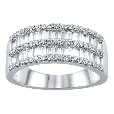 Five Row Ring with 1.00 Carat TW of Diamonds in 14kt White Gold