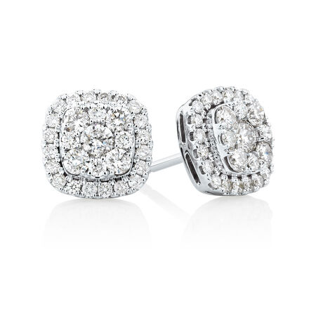 Stud Earrings with 1 Carat TW of Diamonds in 10kt White Gold