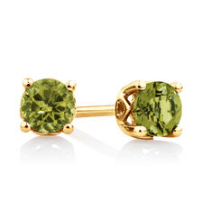 4mm Stud Earrings with Peridot in 10kt Yellow Gold