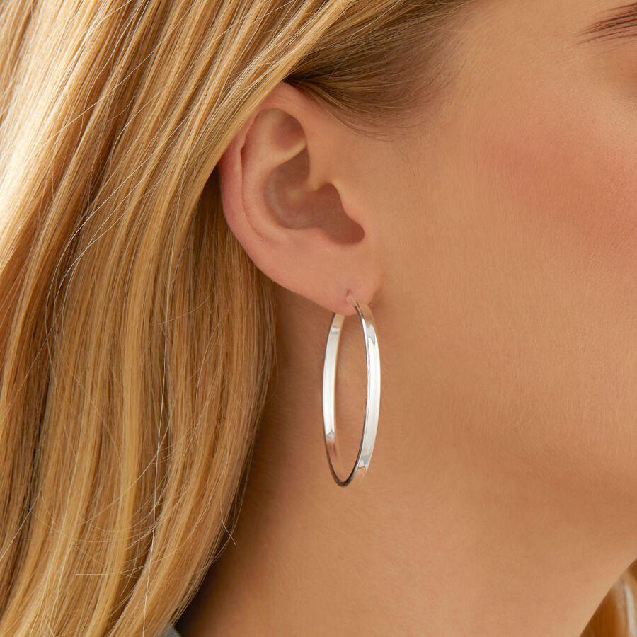 Gift for Her Sterling Silver Hoop earrings-1.2 Medium sized hoop earrings-Silver Circle Earrings Bridesmaid Gift-silver hoops