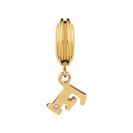 Diamond Set & 10kt Yellow Gold 'F' Charm