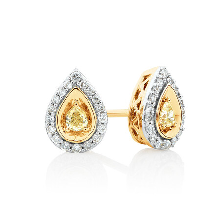 Pear Stud Earrings with 0.30 Carat TW of Natural Yellow & White Diamonds in 10kt Yellow Gold
