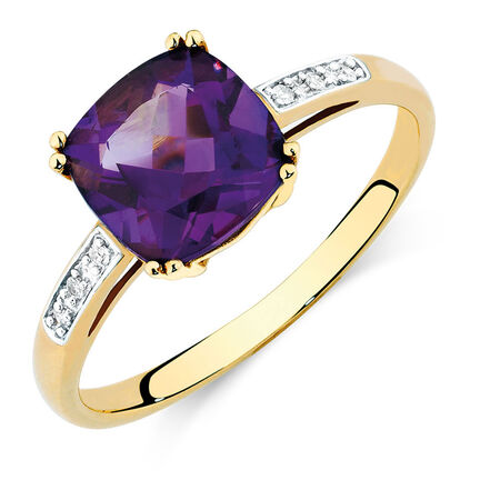 Ring with Amethyst & Diamonds in 10kt Yellow & White Gold