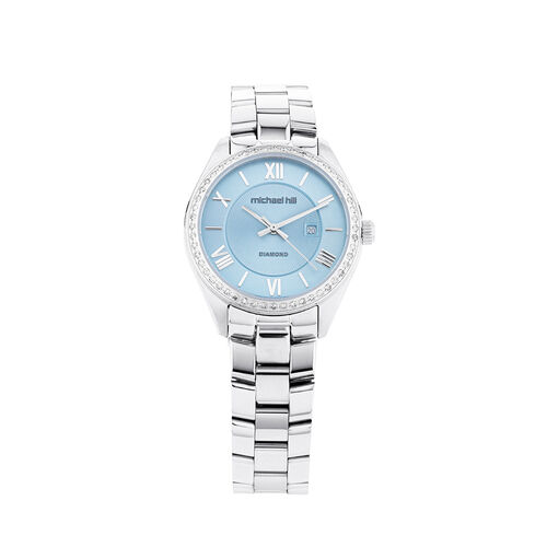 Roman Watch With Diamonds In Stainless Steel