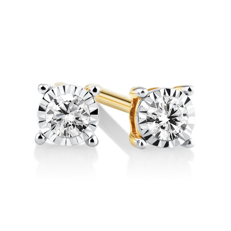 Stud Earrings with 0.10kt TW Diamonds in 10kt Yellow Gold