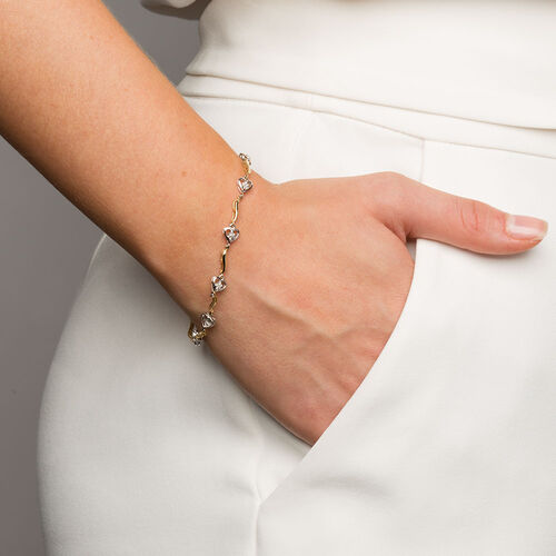 Tennis Bracelet with Diamonds in 10kt Yellow & White Gold