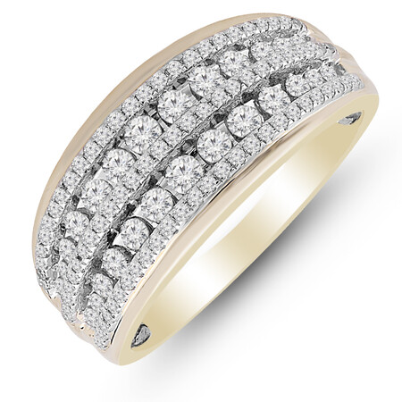 Two Row Ring with 0.70 Carat TW of Diamonds in 10kt Yellow & White Gold
