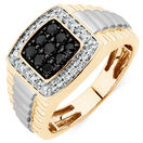 Men's Ring with 3/4 Carat TW of White & Enhanced Black Diamonds in 10kt Yellow & White Gold