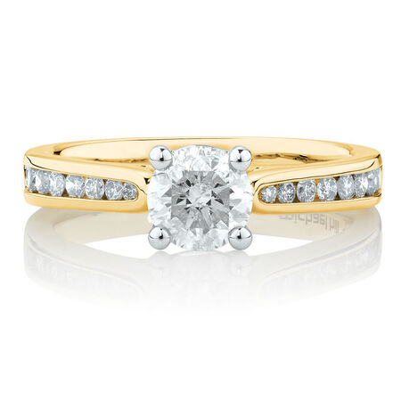 Engagement Ring with 1 1/4 Carat TW of Diamonds in 14kt Yellow & White Gold